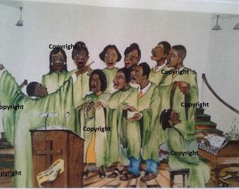 Sang Children - African American Print 16x20