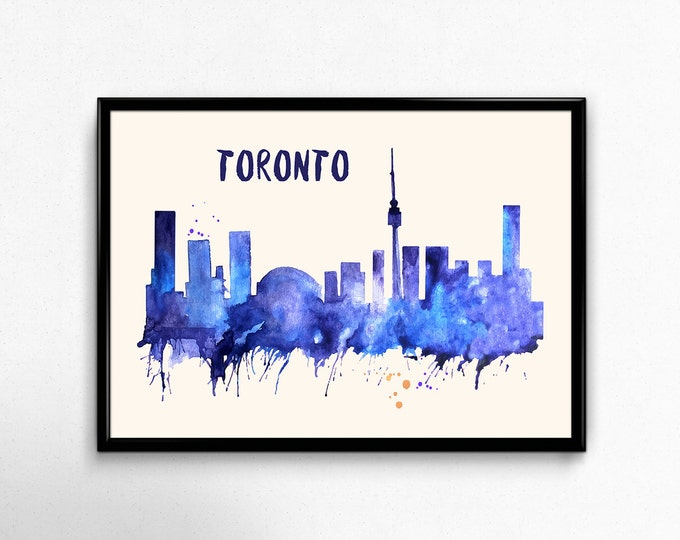 Toronto Skyline Watercolor Poster - Cityscape Painting Artwork - Art Print, Multiple Sizes - 10x8 to 36x24 - Watercolor Painting Style