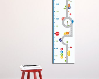 Transportation Growth Chart, Canvas Growth Chart, Cars, Trucks, Roads, Growth Chart, Kid's Room, Nursery Wall Art, Transportation Theme