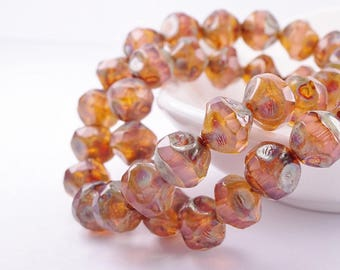 Czech glass beads-Central Cut Beads Rustic-8mm-pink brown green Picasso Mat-10 pcs