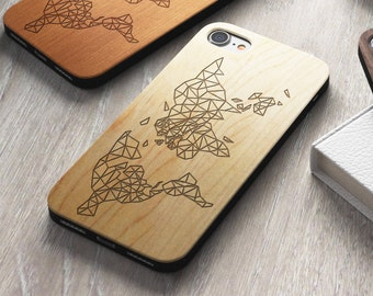 Geometric World Map iPhone 8 case, 8 PLUS, X, SE 5s 5 6 /6s 7 Plus Case Samsung Galaxy S6 S7 S8 Edge Real Wood Case Laser Engraved iPhone