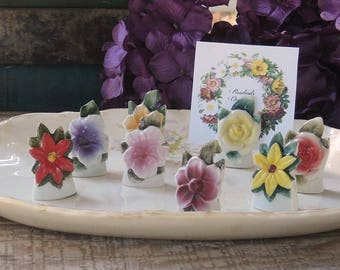 Mid Century Floral Place Card Holders Set of 8 Table Seating Bridesmaids Cards, Tea Parties, Wedding Table Decor Made in Japan
