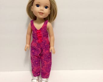 """14.5"""" doll outfit. Made to fit Wellie Wisher dolls. Handmade. Pink and purple."""