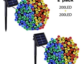 Solar Sale 2 PACK 200 LEDs 72ft. Waterproof Lights Solar Powered Outdoor String Lights  - Multi Colored - USA Seller - Fast Shipping