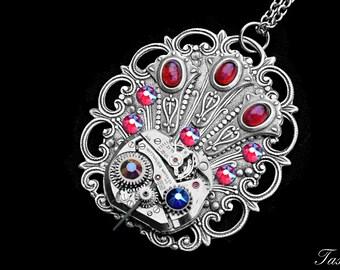 Steampunk Peacock Necklace, Art Deco Bird Pendant, Victorian Jewelry, Silver Animal Pendant