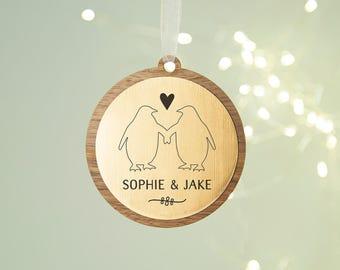 Couple's Christmas Bauble Rose Gold Copper Penguin
