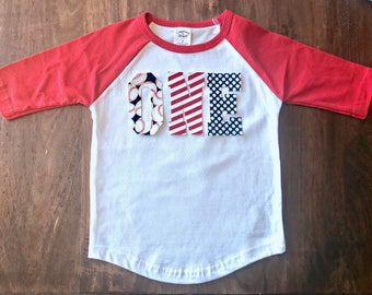 Baseball Boys Birthday Raglan Shirt, toddler first birthday shirt one tee baseball shirt summer batter up theme party red white blue tshirt