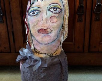 MUSE  Art Doll- Free Motion Embroidered Art Pillow created by Trish Vernazza of Visions of Venus  RESERVED!