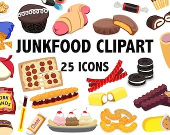 JUNK FOOD CLIPART junkfood clipart, snack clipart, food clipart, candy clipart, sweets clipart, Snacks Clip art, junkfoods, Instant Download