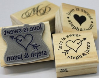 Custom stamp wood mounted rubber