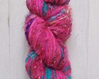Yarn skein - Handspun yarn - Textured fibers - Jane (or the lace in the jungle) - 150 m for 49 g