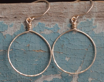 Gold Hoop Earrings 14K Gold-Filled Hoop Earrings Delicately Textured Gold Dangle Earrings Hand Forged Jewelry for Women
