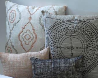 Barkcloth Collection // Throw Pillow Covers 24x24 + Other Sizes // Designer Decorative Pillows // Brown Pillows
