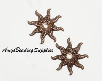 2 Vintaj Natural Brass Fastenables Ornate 26mm Sea Petals  (FS027)