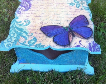Jewelry turquoise box Butterfly box Earrings box jewelry boxes for girls Shabby Keepsake chic boxes gift for women bedroom birds decor