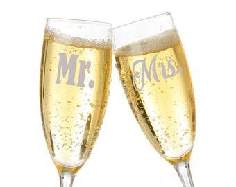 Personalized Champagne Toasting Glasses Set, Personalized Wedding Glasses, Mr. & Mrs. Toasting Glasses