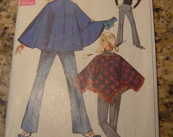 Vintage 60s Simplicty 7871 Misses Poncho and Bell Bottom Pants Pattern Size 8 bust 31.5