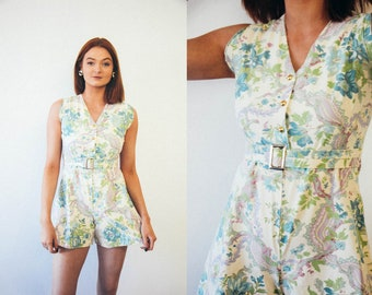 Vintage 1960s Handmade Cream Floral Playsuit Size Small / Romper / Feminine / Girly / Belted / Sixties / Hippy Chic