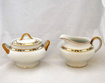 Cream and Sugar Set Hand Painted Orleans Pattern by Syracuse China