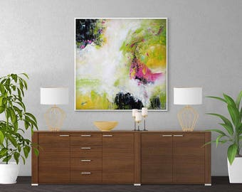 Large Abstract Painting, Pink, Black, Yellow, Green, White Modern Painting, Abstract Art Print, Large Wall Art Giclee Print Contemporary Art