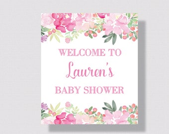 BRIDAL SHOWER WELCOME Sign Baby Shower Welcome Sign | Pink Watercolor Floral Wedding Sign | Printable Welcome Wedding Sign | Peoni Pink