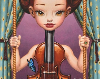 Canvas Giclee Fine Art Print Viola Pop Surrealism Music Wall Art