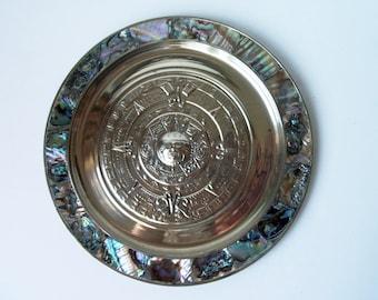 "Abalone shell on brass Maya calendar 7.75"" plate. Made in Mexico (#EV217)"