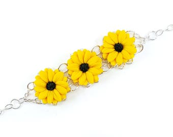 Three Black Eyed Susan Vintage Style Bracelet - Trio Black Eyed Susan Jewelry, Black Eyed Susans Filigree Bracelet, Yellow Coneflower