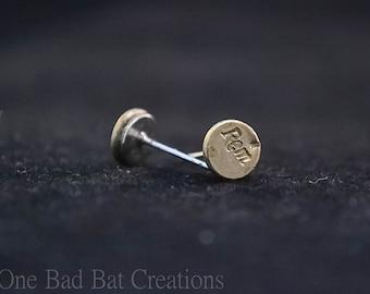 Recycled brass, Bullet earrings, Small stud earrings, unique earrings, Bullet jewelry, Christmas Gift, gift for her,