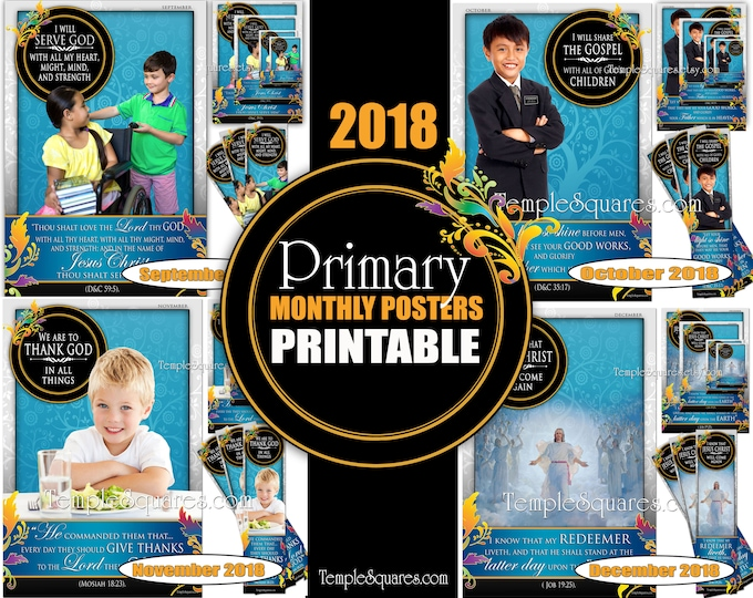 Printable Primary Monthly Posters 2018 I am a Child of God Poster Bookmark and Handouts 5 sizes XL poster size down to handout size Sept-Dec