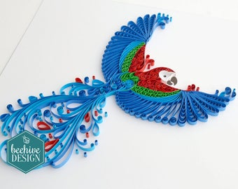 Quilled parrot wall art, Parrot picture, Paper art, Quilling art, Macaw picture, Quilled bird