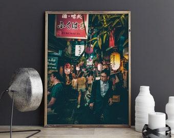 Japanese Alley Poster, japanese photo, japanese photography, japanese night, alley night, tokyo print, anime alley, japanese print, street