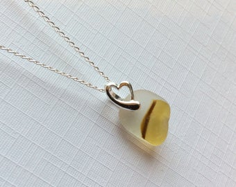 end of day sea glass necklace - yellow/caramel - sea glass jewellery - sterling silver - bridesmaids gifts - Seaham sea glass jewellery