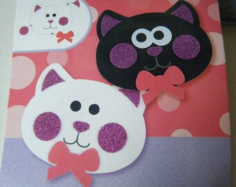 set of 2 cats, to build and decorate foam stickers