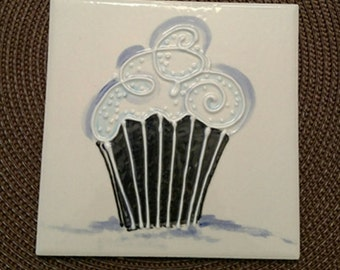 Handpainted Ceramic Cupcake  tile by Colette Peters