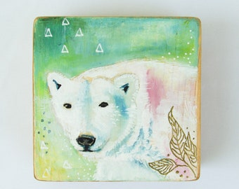 Wood art, Bear, Polar bear, Original acrylic painting, art on wood