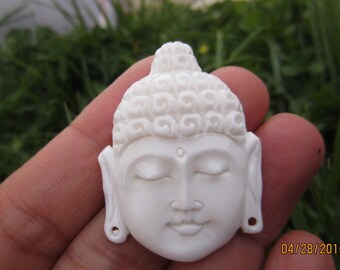 SALE Beautiful  hand carved  handsome Buddha, Buffalo bone carving,  Natural cabochon ,flat back, Jewelry making Supplies S4684