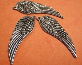 6pc large antique silver lead free wing pendant-2373