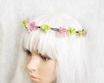 rustic wedding tiara green tiara purple flower girl crown woodland tiara flower hair jewelry bridal tiara green headpiece fairy crown FJ38