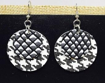 Leather earrings, Black and white earrings, Leather, Earrings, Houndstooth earrings, Jewlery, Leather jewelry, Lightweight earrings, Bold