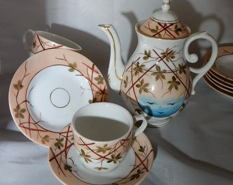Antique 22 pc German Hand Painted Childs Tea Set Aesthetic Sprig Design     NAT19