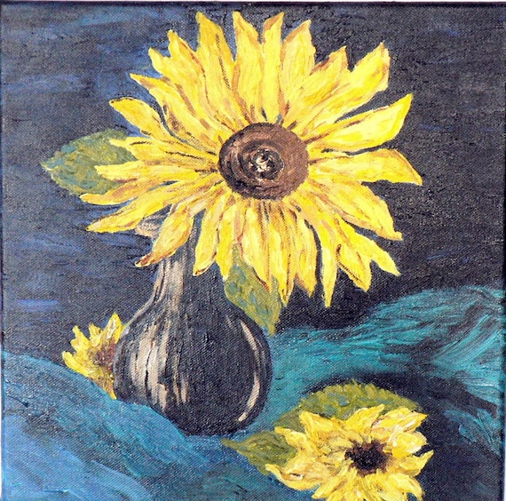 Sunflower painting dark navy blue wall art yellow floral
