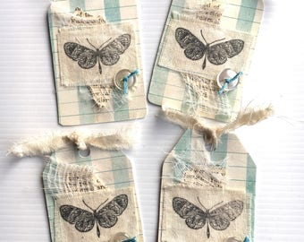 4 Shabby Handmade Tags ... Great for Junk Journals & Scrapbooking
