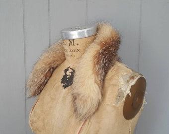 Multicolor Fox Fur Collar / genuine fur / 1980s