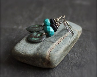 Turquoise Stone Coin Earrings - Verdigris Patina, Cast Ceramic Coin Charm, Rustic Dark Brown Wood, December Birthstone Jewelry