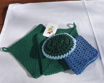 Handmade Blue and Green Kitchen Gift Set: 2 Green Potholders, 1 Blue Dishcloth, 1 Green and Blue Nylon Scrubby, Kitchen Decor, Hostess Gift