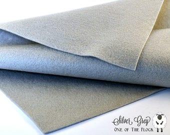 Silver Gray Wool Felt, Merino Wool Blend Felt, Wool Blend Felt, Wool Felt Yardage, Wool Felt Fabric, Gray Felt Fabric, Gray Felt Yardage