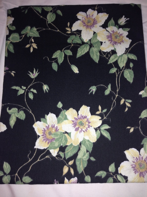 Black Floral Upholstery Fabric F0