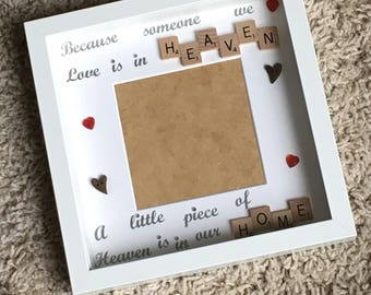 Memory Frame, Memorial Frame, Scrabble Art Frame, Scrabble Frame, Little Piece of Heaven Photo Frame, Loved One Memory Frame,