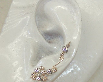 Ear Climbers - Ear Sweeps - Two Tone Ear Sweeps Silver Beads Gold Wire - Up The Ears - Ear Crawlers - Silver and Gold - Gifts For Women